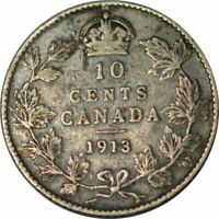 1913 Canada Broad Leaves Variety 10 Cent Silver - Very Nice Circ! -d1629sudc2