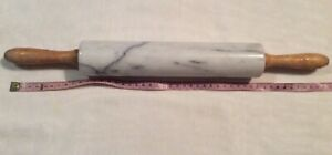 White Marble Rolling Pin Wooden Handle 26 cm