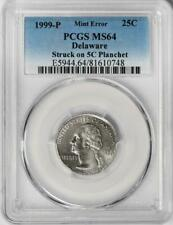 1999 D PCGS MS64 Quarter Struck On Nickel Planchet Delaware Quarter Mint Error