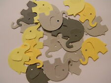 Elephant Elephants Mixed Yellow and Gray color die cuts  Lot of 100 Hand punched