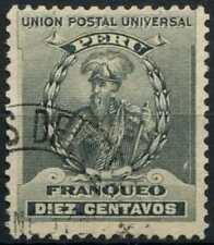 Peru 1896-1900 SG#343, 10c Black, Pizarro Used #E1279