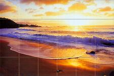 36 x 24 Mural Ceramic Sunset Ocean Backsplash Tile #357