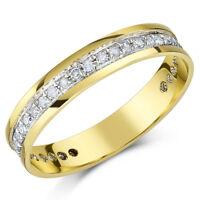 9 Ct Oro Amarillo Anillo De Eternidad Con Diamante 4mm Tercer Quilate 0,33ct