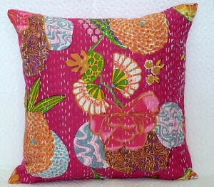 Indian Cushion Cover Art Deco Kantha Dark Pink Cotton Throw Pillow Case Cover