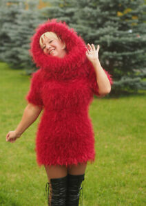 2 piece knit red furry mini dress mohair long pile decofur outfit handmade