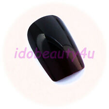24 LOOSE FALSE NAIL TIPS MANICURE NAILS DARK RED WINE / BROWN WITH GLUE 10 SIZES