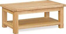 Helford Oak Small Chunky Coffee Table / Light Modern Oak Table with Shelf