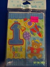 Hugs & Stitches Boy Blue First 1st Birthday Party Thank You Notes w/Envelopes