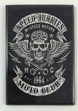 "Speed Junkies Moto Club- Tin Sign Toolbox Magnet- 2""x3"" Vintage Retro Look- NEW!"