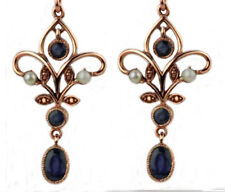Genuine 9ct Rose Gold Natural Sapphire & Pearl Chandelier Filigree Drop Earrings