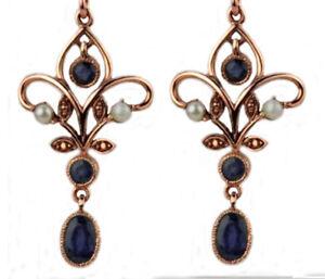 Genuine 9ct Rose Gold Natural Sapphire & Pearl Chandelier Filigree Drop Earrings
