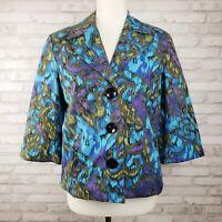 Chicos 0 Small womens jacket black blue purple batik floral print 3/4 sleeves
