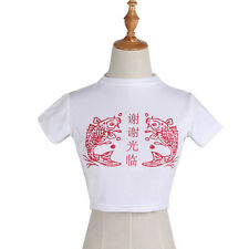 Women Chinese Letter Print Turtle Neck Crop Top Short Sleeve Tshirt  Sexy Tee