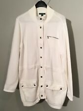 Womens Ralph Lauren White Cardigan Sweater With Metal Snaps 100% Cotton