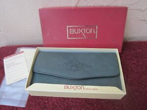 New in Box Vintage BUXTON Genuine Leather Green Clutch Woman's Wallet