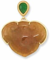 Naturel Red Jadeite Jade Carving with Natural Green Jadeite Jade Top Pendant