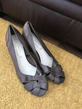 George Brown Leather Open Toe Sandals Wedges Peep Toe Size 6