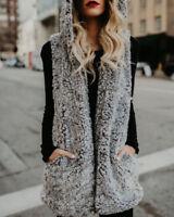 Women Outwear Gilet Long Vest Faux Fur Waistcoat Hooded Sleeveless Coats Jackets