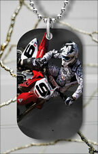 MOTOCROSS BIKE DOG TAG NECKLACE PENDANT FREE CHAIN -f34t