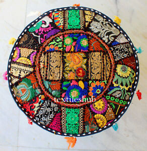 Indian Handmade Round Pouf Cover Vintage Cotton Ottoman Black Pouffe Covers