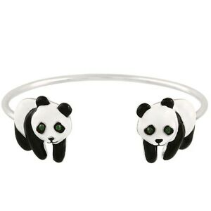 Panda Bear Fashionable Cuff Bracelet - Enamel - Rhodium Plated