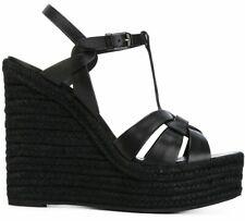 Saint Laurent YSL Tribute Black Ankle Strap Platform Wedge Sandal Pump Heel 37