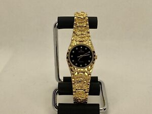 Elgin Nugget 25mm Watch For Women. Black Dial, Gold. New Battery