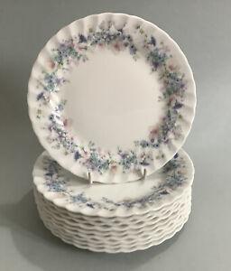Vintage WEDGWOOD Angela 17cm Fluted Edge Side / Tea Plates - Set Of 10