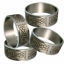 Pewter Napkin Ring Serviette Decorated With Celtic Motifs x4