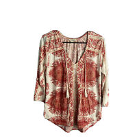Lucky Brand Top Small Paisley Floral Tassels Peasant Boho Casual Orange Cream