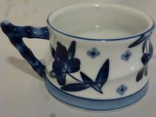 Chinese Blue and White Cup Breakfast Mug Floral with Bamboo Handle