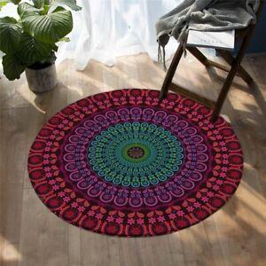 Purple Green Floral Mandala Bohemian Round Rug Carpet Living Map Room Bedroom
