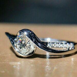 Fashion Ladies 925 Silver Ring White Sapphire Wedding Ring Gift Size 6-10