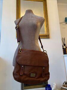 FOSSIL Tan Leather Satchel Cross Body Handbag Long Strap ⭐️