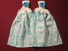 LOT OF 2 CROCHET TOP KITCHEN BLUE ROSES BATH TOWELS FOR PIONEER WOMAN ENTHUSIAST