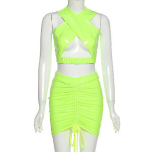 Womens Faux Leather Crossover Crop Top with Drawstring Skirt Two-piece Suit L