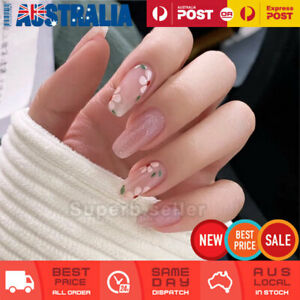 24pc Pink Glitter Flower Coffin Fake Nail Tips Glue On False Press On Artificial