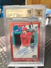2018 Donruss Optic Rated Rookie Auto Red Shohei Ohtani /17 Los Angeles Angels