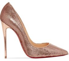 New Christian Louboutin SO KATE 120 NUDE Sequined Pumps Heel ROSE GOLD Shoes 36