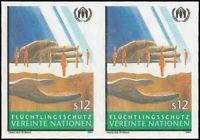 UN Vienna #166 Refugees. Imperf Pair. Mint VF NH. Very rare! 69 Pairs exist!