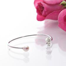 Hello Kitty Silver 925 x Natural Akoya Cultured Glossy Pearl Bangle Bracelet F/S