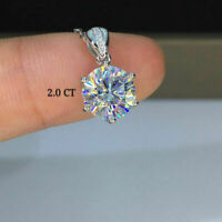 2Ct Round Cut Diamond Solitaire Pendant Necklace 14K White Gold Over Free Chain