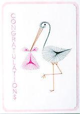Hand made cucito CARD Stork con Baby Bundle girl nascita congratulazioni