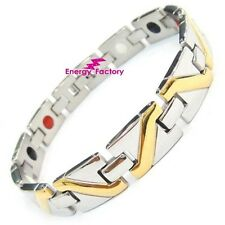 Unisex Magnetic Power Health Gold Bracelet 4in1 Ladies Bio Energy Armband