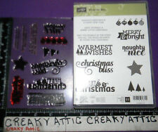 STAMPIN UP CHRISTMAS BLISS 11 CLEAR CLING RUBBER STAMPS PHOTOPOLYMER MERRY WISHE