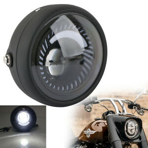 6.5 Inch Motorcycle Headlight LED Turn Signal Light Blue+White For Cafe Race