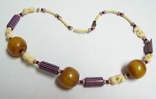 Vintage EGG YOLK Amber BAKELITE Trade Bead & Carved Elephants Necklace