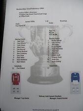 1983-84 League Cup Semi Final 2nd Leg Aston Villa v Everton matchsheet