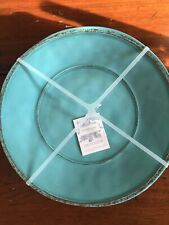 Shabby Chic Outdoor Turquoise Distressed Set Of 4 Melamine Plates New