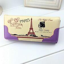 Women's Lady Cute Eiffel Tower Printed Purse Clutch Wallet Card Wallets Long